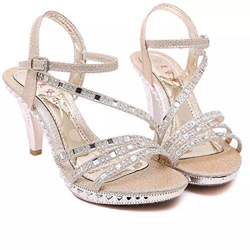 Imperméable Très Femme Bien Sandales Golden Des Ladies Été Avec Fine Diamond Zhudj Oz64xqq
