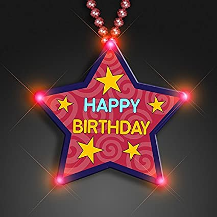Huge Happy Birthday Star Beaded Necklace Flashing Body Light Lapel Pins