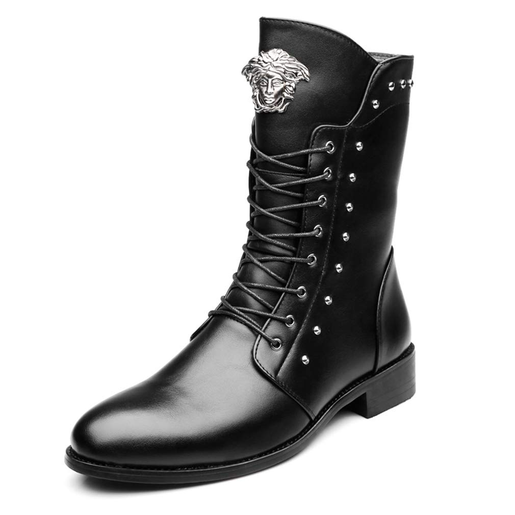 YAN Herren Lederstiefel Martin Stiefel Seitlichem Reißverschluss High-top Rivet Schuhe Lace Up Freizeitschuhe Kleid Schuhe Outdoor Wanderschuhe (Farbe   Schwarz, Größe   37)