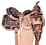 AceRugs Western Pink Cross Barrel Racing Premium Show Leather Horse Saddle TACK Set Headstall REINS Breast Collar
