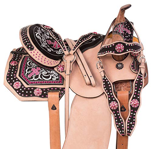 AceRugs 14 15 16 Rough Out Western Leather Pink Cross Crystal Bling Barrel Racing Show Horse Saddle Free TACK Set (16) -