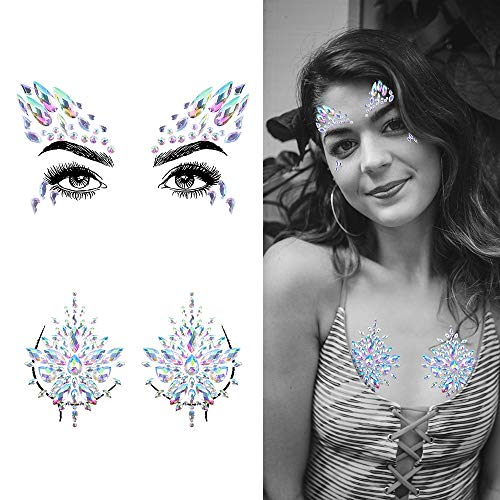 (Face & Breast Jewels Glitter Rhinestones Temporary Tattoo - 2 Pcs Body Jewelry Stickers Crystal Mermaid Eyes Tears Gems Stones for Festival Party Women by IeBilif)