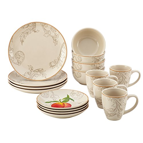 (Paula Deen 58637 16 Piece Orchard Harvest Dinnerware Set, Print)