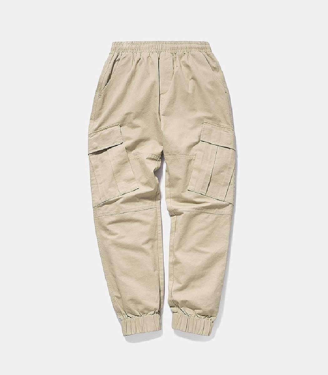 CuteRose Men Beam Foot Trousers Athletic-Fit Back Cotton Tenths Pants