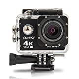 Ourlife 4K WIFI Sports Action Camera Ultra HD 170° HD Wide-angle Fish-eye Lens 2 inch LCD Screen ( 1050mah Battery,black Shell)