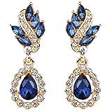 EleQueen Women's Austrian Crystal Art Deco Tear Drop Earrings