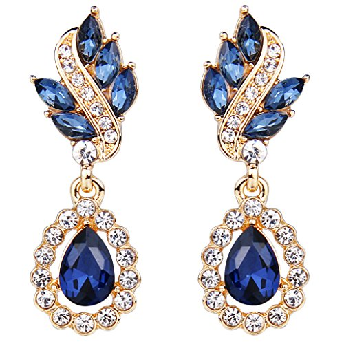 (EleQueen Women's Austrian Crystal Art Deco Tear Drop Dangle Earrings Clip-on Gold-tone Sapphire Color)