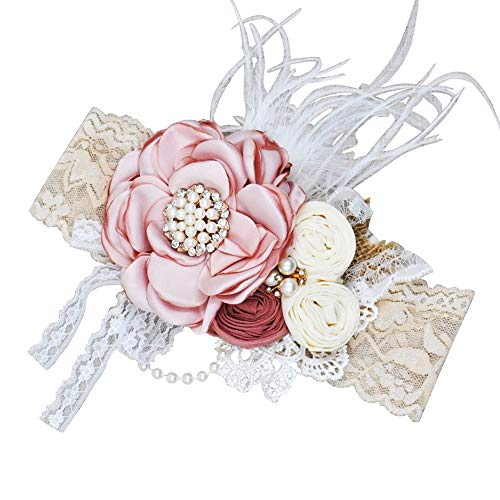 - Pearl Rose Baby Girl Headbands-BEAMIO Vintage Lace Flower Crown Hair Bow Elastic Bands Newborn Infant Toddlers Kids