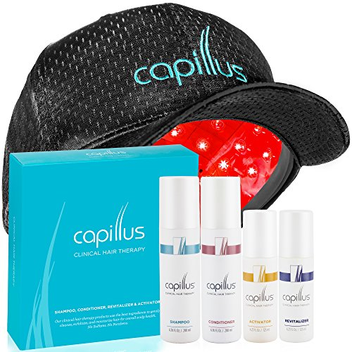 Capillus82 Flexible Laser Hair Treatment Cap & Clinical Hair Therapy Bundle (Shampoo, Conditioner, Revitalizer & Activator) FDA-Cleared Proven to Treat Hair Loss in Men & Women by Capillus