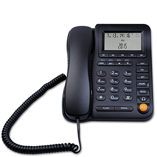 Corded Telephone Headset Jack - LeeKerTel LK-P017 Home Office Corded Phone with Headset Jack Adjustable Display with Call ID