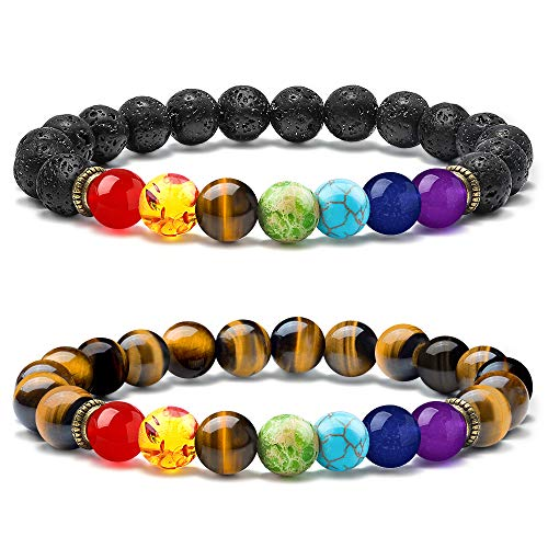M MOOHAM Gemstone Chakra Bracelet - 2 PCS Aromatherapy Essential Oil Diffuser Lava Rock Stone Bracelet and Men Women Stress Relief Yoga Beads Tiger Eye Semi-Precious Stone Bracelet, 7 Chakras