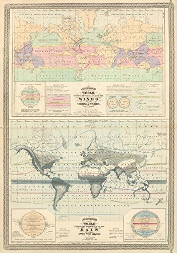 orld, Showing The Circulation of The Winds and The Course of Storms. | Antique Vintage Map Reprint ()