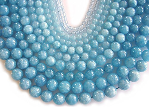 Aquamarine Beads Strand, Round Beads, Natural Aquamarine Gemstone for Jewelry Making by BEEZZY BEEDZ (8mm, Aquamarine Light Blue) (Beads Round Aquamarine)