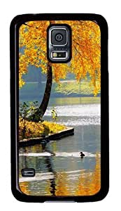 Rugged Samsung Galaxy S5 Case and Cover - Autumn Lake Custom Design PC Case Cover for Samsung Galaxy S5 - Black