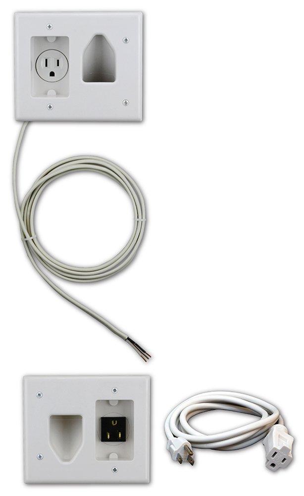 Datacomm 50-3323-WH-KIT Flat Panel TV Cable Organizer Kit with Power Solution - White by Datacomm Electronics