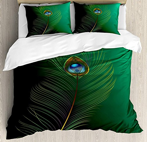LEO BON Peacock Duvet Cover Set King Size, Peacock Feather Illustration in Simplistic Artistic Style Wild Nature Life Print Floral Duvet Cover and Pillow Shams Bed Set, Green Blue (Set Bed Peacock)