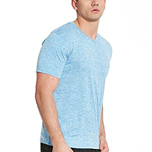COVISS Men's Dry Fit Athletic T-Shirts, Short Sleeve V Neck Loose Fit Tees, SkyBlue L