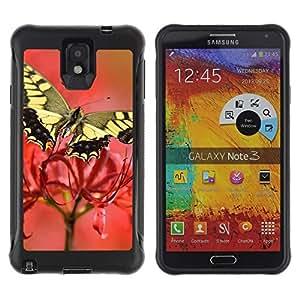 """Pulsar iFace Series Tpu silicona Carcasa Funda Case para SAMSUNG Galaxy Note 3 III / N9000 / N9005 , Polilla de la mariposa de la flor de primavera Naturaleza"""""""