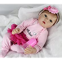 AMPretty Lifelike Reborn Baby Dolls Soft Silicone 22inch Real Girl/Boy Baby Dolls Lovely Christmas Gift For Ages 3+ (Gabrielle)