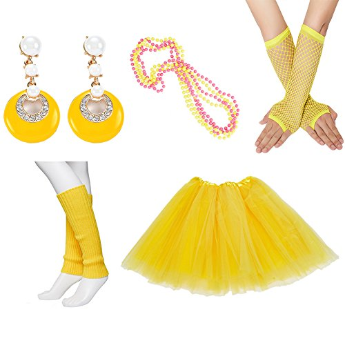 80s Fancy Outfit Costume Accessories Set,Adult Tutu Skirt,Leg Warmers,Fishnet Gloves,Neon Earrings and Neon (80s Party Outfits)