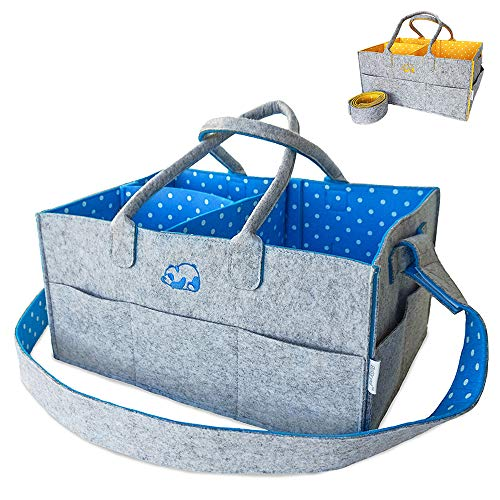 Baby Diaper Caddy Organizer | Premium Large Nursery Shoulder Strap Changing Bag | Portable Travel Car Wipes Tote | Sturdy Baby Shower Gift Basket for Boys Girls | Newborn Registry Must Have (Blue)