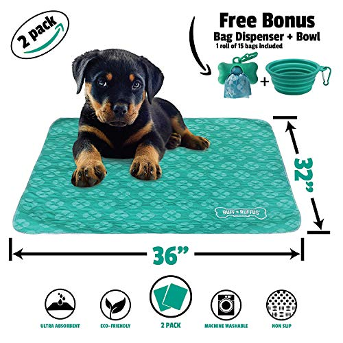 Ruff n Ruffus Washable Puppy Pee Pads for Dogs (Set of 2)   Free Travel Bowl, Poop Bags and Dispenser   Extra Large 32 x 36 Underpads for Potty Training, Incontinence, Whelping (Aqua (Free Bonus))