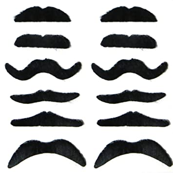 12 Fake Mustaches Self Adhesive Party Pack Moustaches Costume Sheet Halloween