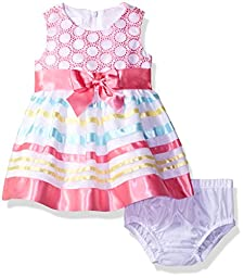 Bonnie Baby Girls\' Circle Embroidered to Ribbon Organza Dress, Fuchsia, 6-9 Months