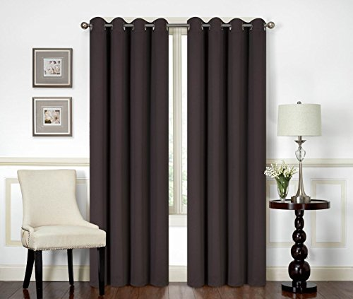All American Collection New 2 Panel Curtain Set Solid Machine Woven Blackout with 8 Grommets (Brown)
