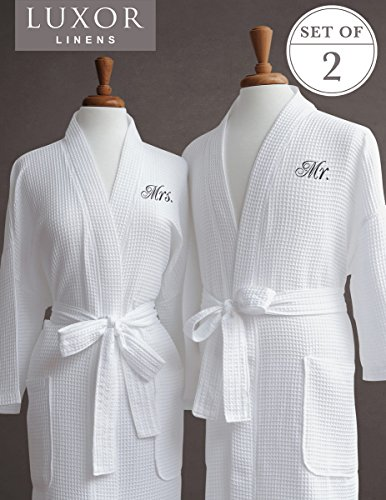 (Luxor Linens Egyptian Cotton His & Hers Waffle Robes - Perfect Housewarming Gifts! (Mr. & Mrs, Black Monogram) )