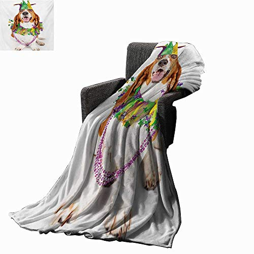 Anyangeight Mardi Gras Weave Pattern Extra Long Blanket Happy Smiling Basset Hound Dog Wearing a Jester Hat Neck Garland Bead Necklace,Super Soft and Comfortable,Suitable for Sofas,Chairs,beds