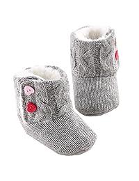 Changeshopping Baby Girls Soft Sole Crib Warm Button Flats Cotton Boot Toddler Prewalke Shoes
