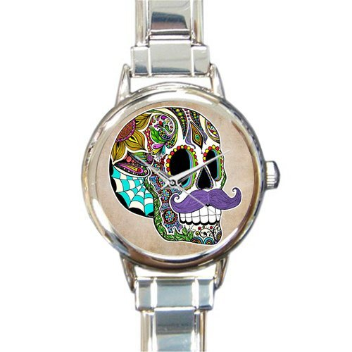 (Personalized Watch Funny Sugar Skull with Mustache Round Italian Charm stainless steel Watch)