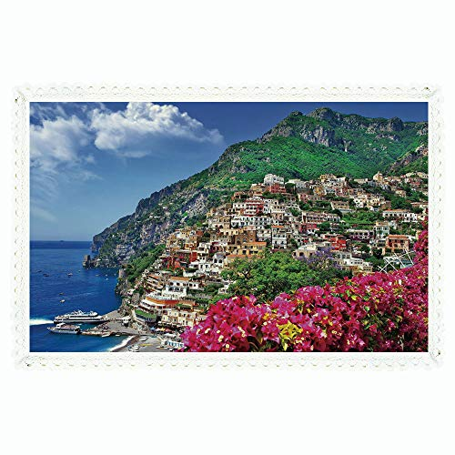 Amalfi Outdoor Table Bar (iPrint Italy,Rectangle Polyester Linen Tablecloth/Scenic View of Positano Amalfi Naples Blooming Flowers Coastal Village Image/for Dinner Kitchen Home Décor,60