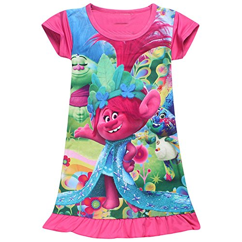 KIDHF Trolls Comfy Loose Fit Pajamas Girls Printed Princess Dress (Red,110/4-5Y)]()