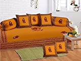 Odishabazaar 8 Pcs Traditional Gumar dance Print Diwan set with 5cushion 2bolster covers and 1 bedsheet