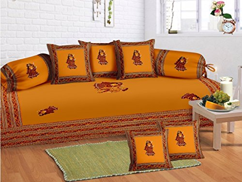 Odishabazaar 8 Pcs Traditional Gumar dance Print Diwan set with 5cushion 2bolster covers and 1 bedsheet by Odishabazaar