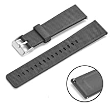 Rerii Quick-Release, Silicone, 22mm Watch Band, Strap for Samsung Gear S3 Classic / Frontier, Gear 2, Moto 360 2nd Gen, LG G Watch, Pebble Time & Time Steel