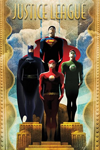 Justice League Heroes Retro Dc Comics Poster Flash Green Lantern