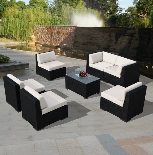 Amazing Amazon.com : Ohana 7 Piece Outdoor Wicker Patio Furniture Sectional  Conversation Set With Weather Resistant Cushions, Beige (PN0703A) : Outdoor  And Patio ...