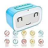 Alarm Clock, GEREE Cute Emoji Desk Clock Smart Backlight/Temperature/ Snooze Wake Up Alarm Clocks for Bedrooms, Office Desk Cube Alarm Clock Battery Operated Best Gift for Kids, Family (Blue)