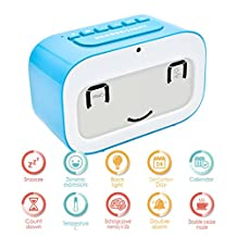 Alarm Clock, GEREE Cute Emoji desk clock Smart backlight / temperature/ Snooze Wake Up Alarm Clocks for Bedrooms, Office Desk Cube Alarm Clock Battery Operated Best Gift for Kids, Family (Blue)