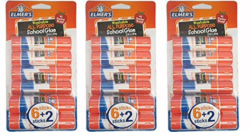 Elmer's All Purpose Washable Glue Sticks School Supply, 8 count, (Pack of 3)