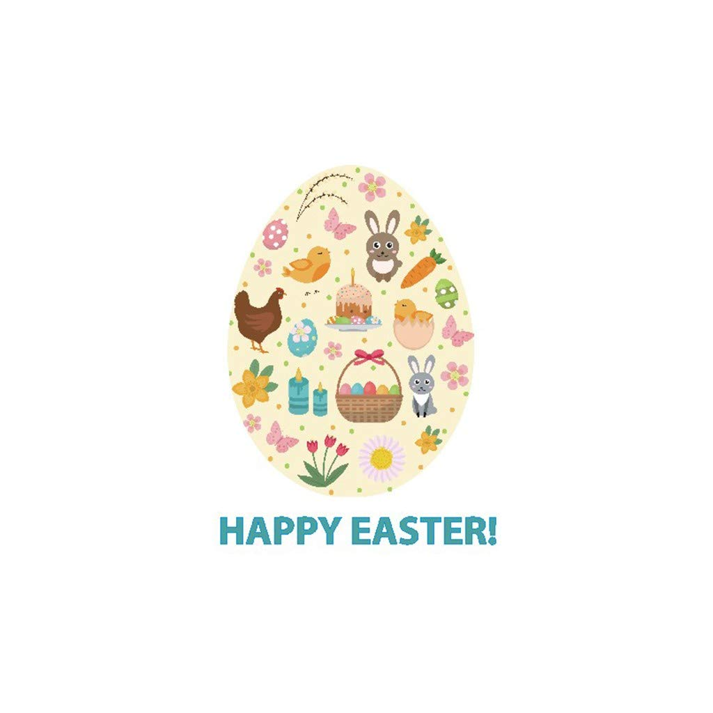 Cyhulu Creative Window Wall Decal, New Fashion Colorful Cartoon Happy Easter Rabbit Egg 3D Mural Vinyl Stickers for Bedroom Living Room Home Office Wall Art DIY Decoration