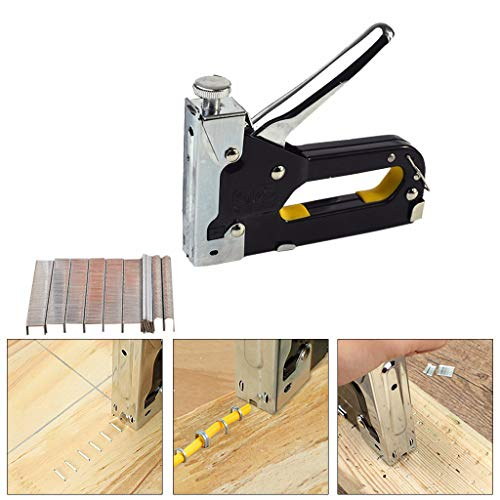 Gotian Multifunction 3 In1 Manual Stapler Tool Square/Stright/U Type with 600 Staples - for Home Decoration, Carton Making, Packaging, Nail Canvas, Sofa, Leather, Advertising, DIY Works ()