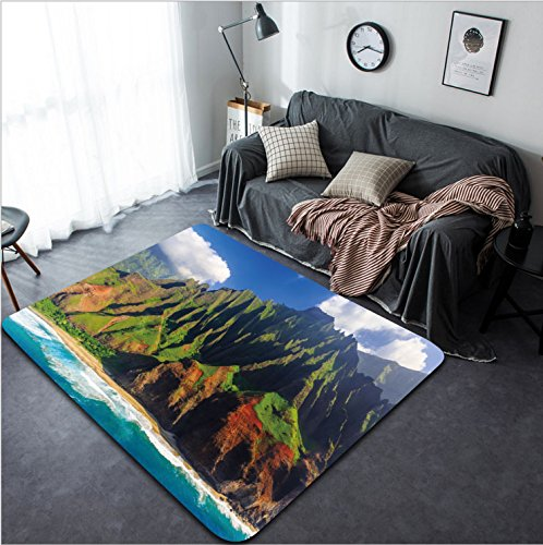 Vanfan Design Home Decorative Aerial view of spectacular Na Pali coast Kauai Hawaii Modern Non-Slip Doormats Carpet for Living Dining Room Bedroom Hallway Office Easy Clean Footcloth by vanfan