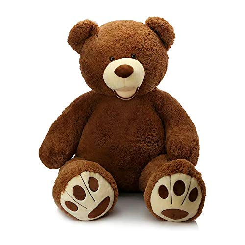 MorisMos Giant Teddy Bear with Big Footprints Big Teddy Bear Plush Stuffed Animals Dark Brown 39 inches (Color: Dark Brown)