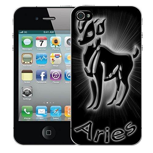 Mobile Case Mate iPhone 4 clip on Dur Coque couverture case cover Pare-chocs - noir aries Motif