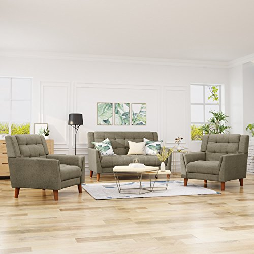 Christopher Knight Home 305577 Evelyn Mid Century Modern Fabric Arm Chair and Loveseat Set, Mocha, ()