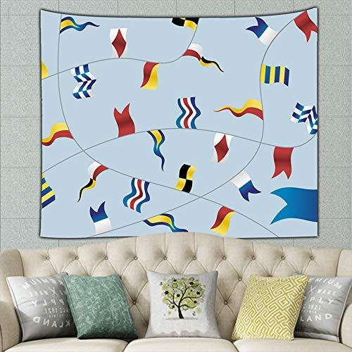 Navigation Flags on Light Blue Signs Symbols Flag Signs Symbols Transportation Flag Transportation Hippie Tapestry Wall Art for Living Room Bedroom Dorm Decor 50ʺ × 60ʺ